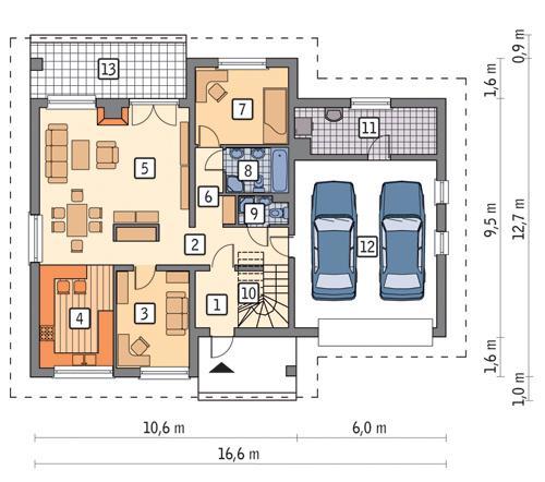 Rzut parteru POW. 141,0 m²
