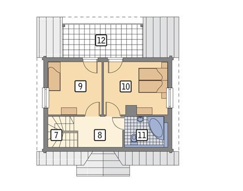 Rzut poddasza POW. 42,2 m²