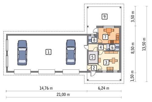 Rzut parteru POW. 130,6 m²