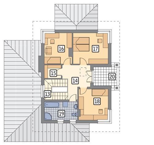 Rzut piętra POW. 72,2 m²
