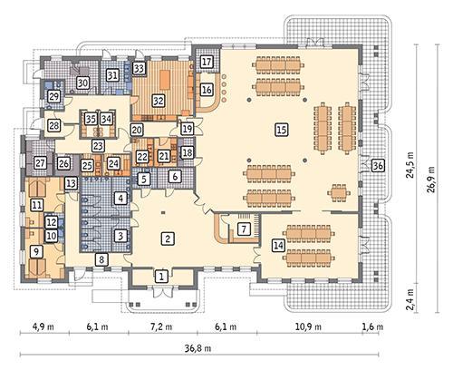 Rzut parteru POW. 711,1 m²