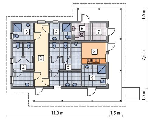 Rzut parteru POW. 65,0 m²